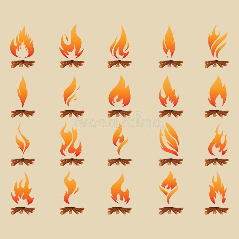 Metta della fiamma con legno royalty illustrazione gratis