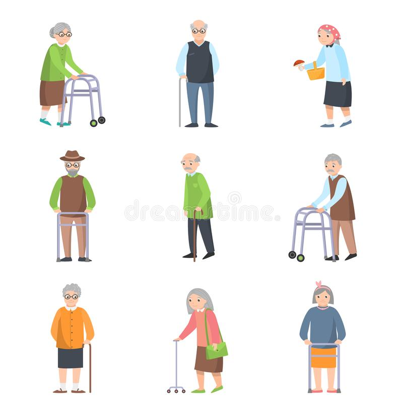 Metta della gente anziana nelle pose differenti con oggetto supplementare royalty illustrazione gratis