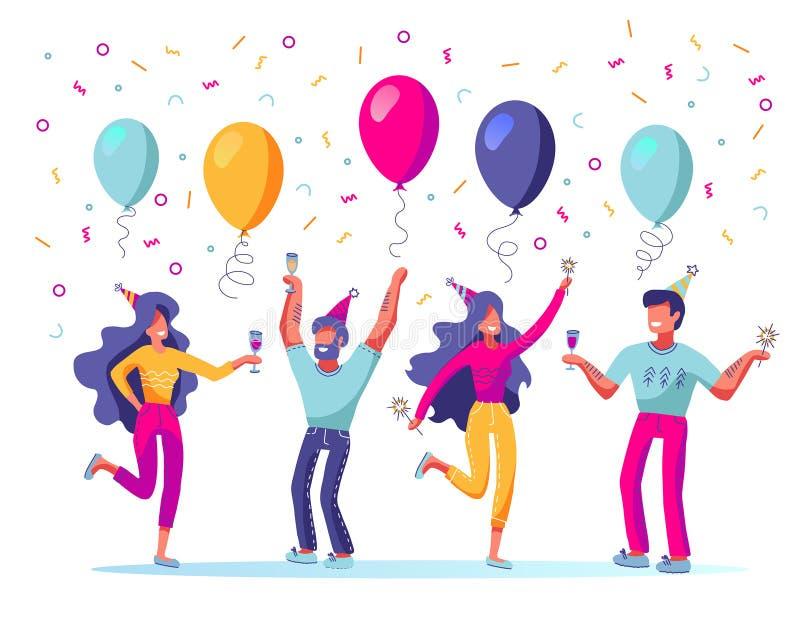 Metta della gente che celebra la festa, evento Caratteri della donna e dell'uomo in cappuccio di festa che balla, divertentesi e  royalty illustrazione gratis