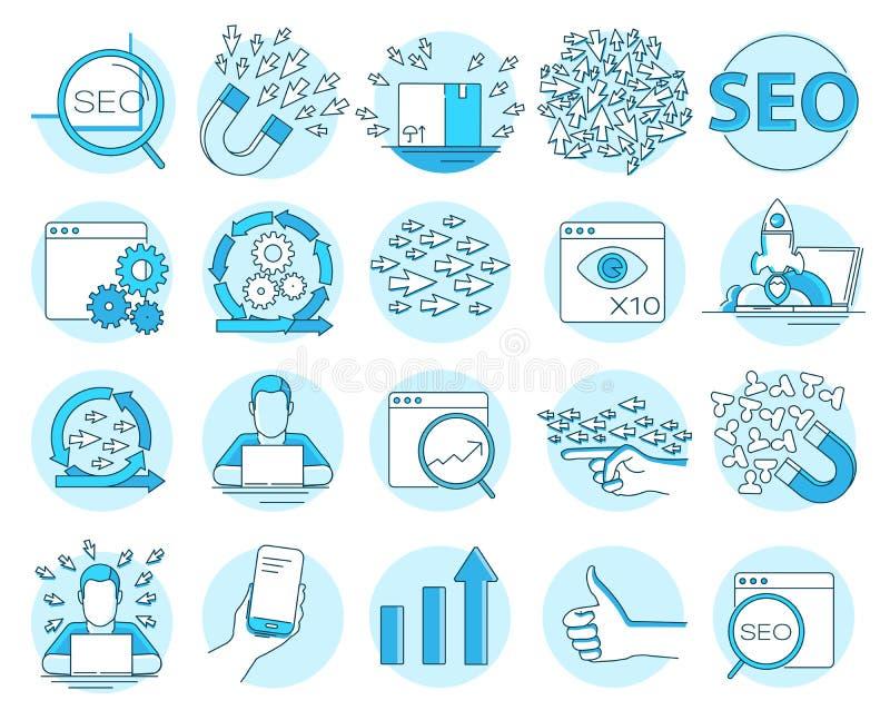 Metta della linea icone di concetto per le statistiche del sito Web e di seo illustrazione vettoriale