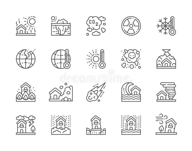 Metta della linea icone di disastro naturale Siccità, riscaldamento globale, inquinamento e più illustrazione di stock