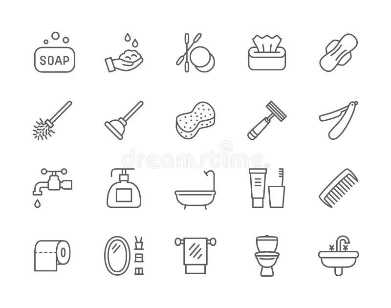 Metta della linea icone di igiene Vasca, spugna del bagno, tampone, sturagabinetto e più royalty illustrazione gratis