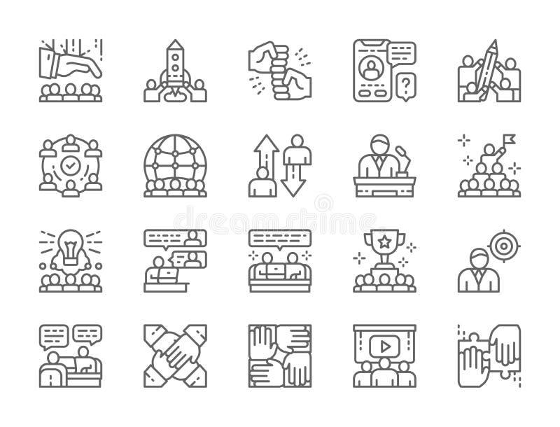 Metta della linea icone di lavoro di squadra Partenza, direzione, gruppo internazionale e più illustrazione di stock