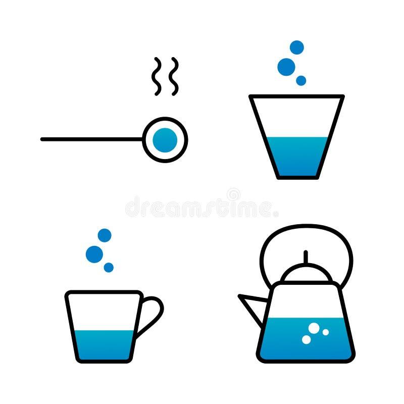 Metta della linea stile dell'icona dei piatti Bollitore, tazza, cucchiaio illustrazione di stock