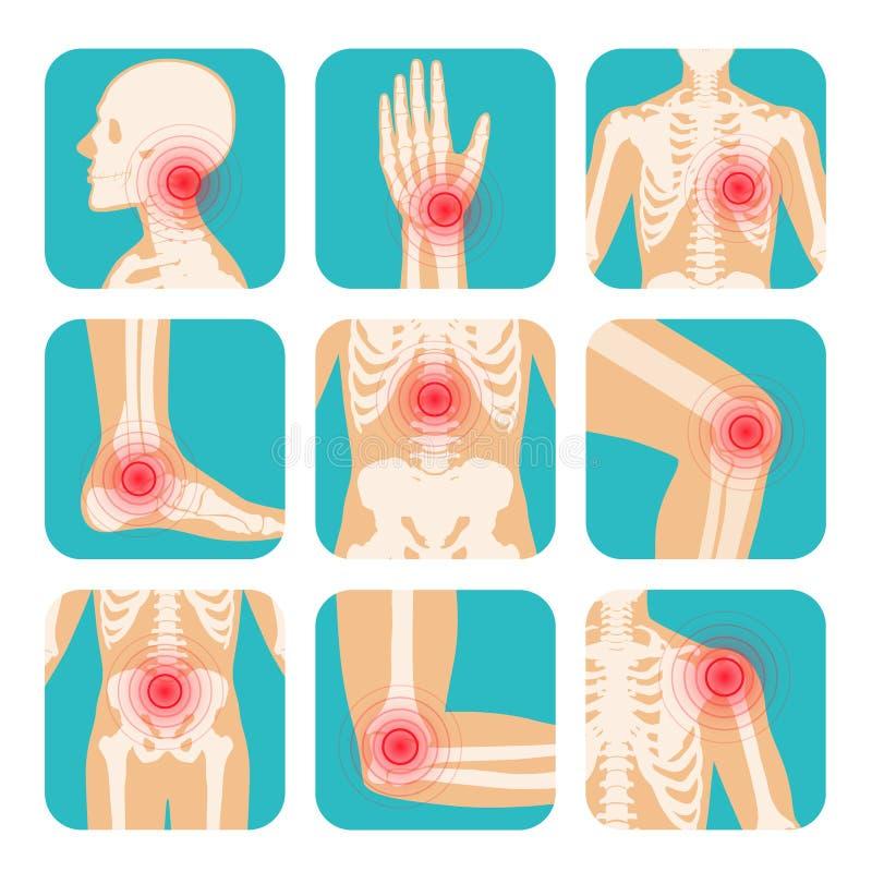 Metta della localizzazione rossa di dolore del cerchio, del corpo umano, dello scheletro, delle articolazioni e delle ossa illustrazione di stock