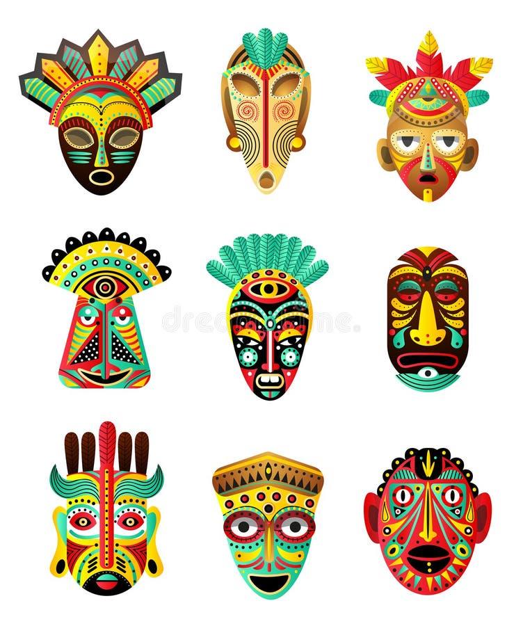 Metta della maschera etnica, africana, messicana variopinta, elemento rituale illustrazione vettoriale
