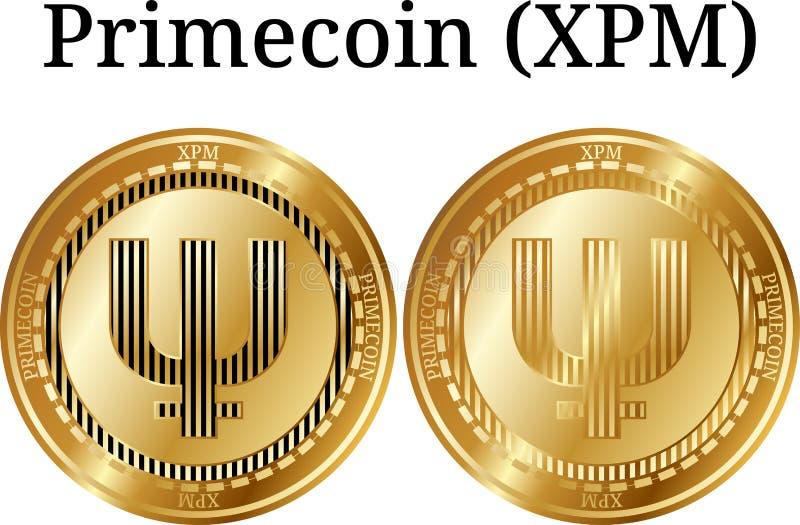 Metta della moneta dorata fisica Primecoin (XPM) illustrazione vettoriale