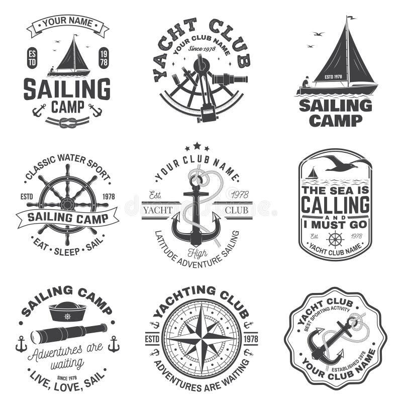Metta della navigazione del distintivo dell'yacht club e del campo Vettore Concetto per la camicia, la stampa o il T Progettazion illustrazione di stock