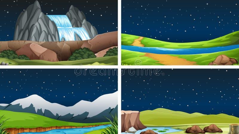 Metta della notte del ND del giorno di scene della natura illustrazione di stock