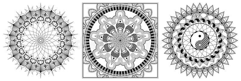 Metta della pagina di Mandala Coloring per l'occhio adulto Mandala Coloring Pages For Meditation di progettazione della mandala d illustrazione di stock