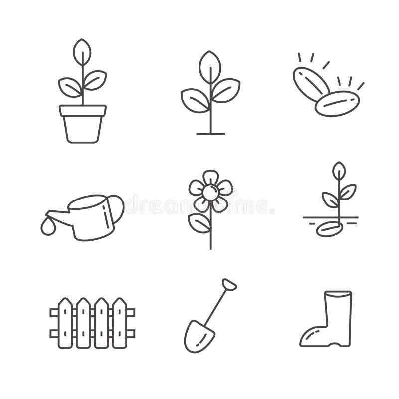 Metta della pianta e dell'icona relativa di giardinaggio illustrazione vettoriale