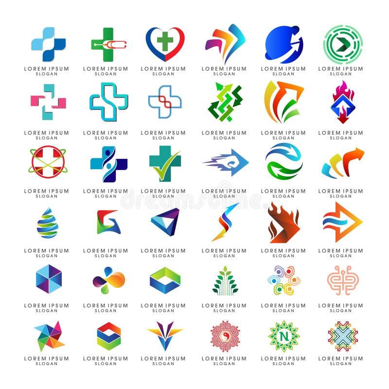 Metta della raccolta astratta di logo di affari illustrazione vettoriale