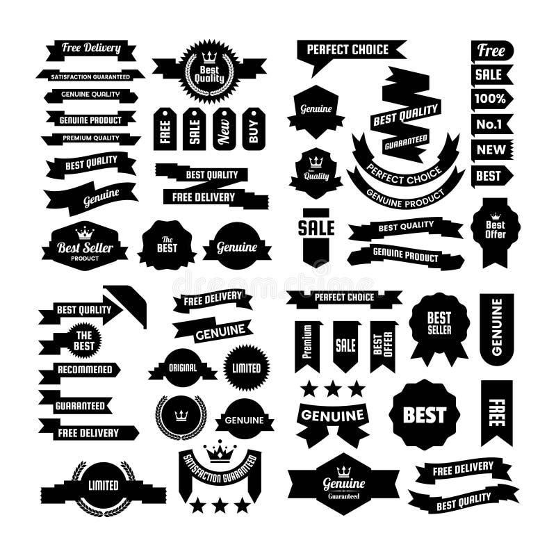 Metta della raccolta d'annata nera del nastro e del distintivo illustrazione di stock