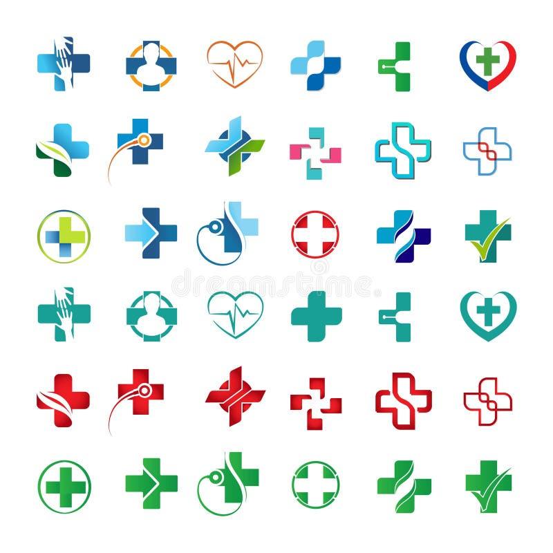 Metta della raccolta di logo di sanità illustrazione di stock