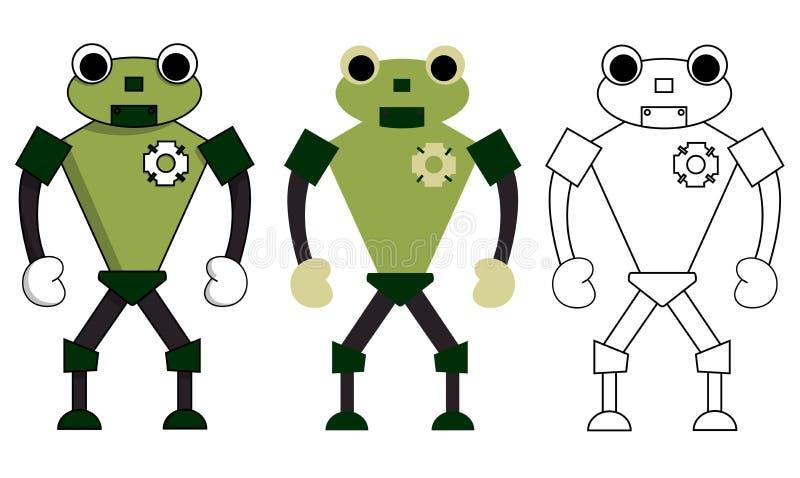 Metta della rana del robot nello stile differente Illustrazione di riserva isolata di vettore illustrazione vettoriale