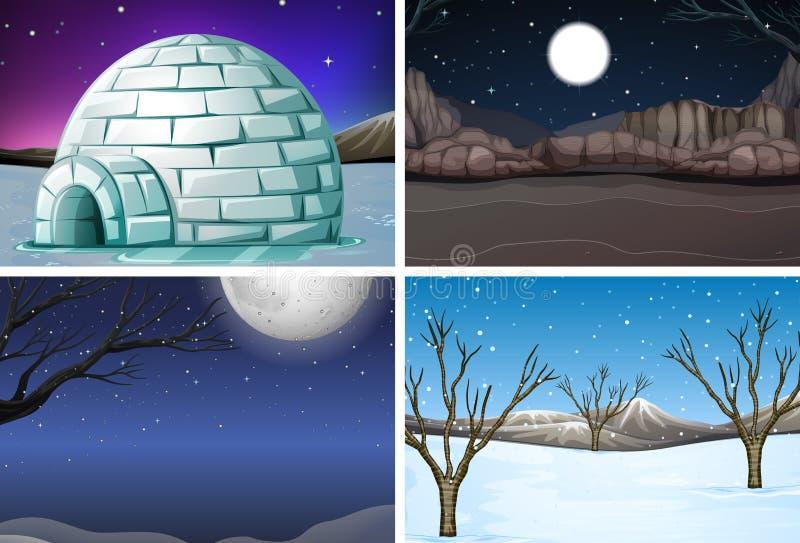 Metta della scena di notte dell'inverno illustrazione vettoriale