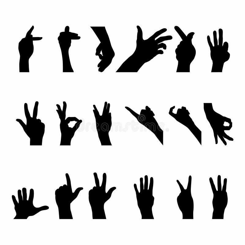 Metta della siluetta di gesto di mano illustrazione vettoriale