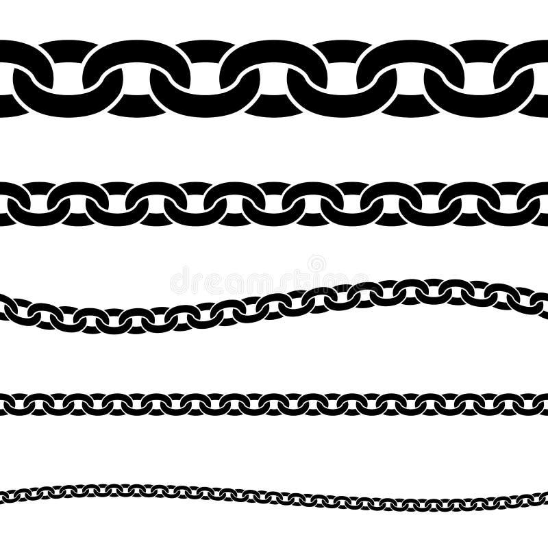 Metta della siluetta isolata nera delle catene su fondo bianco Modello senza cuciture della catena Bordo decorativo royalty illustrazione gratis