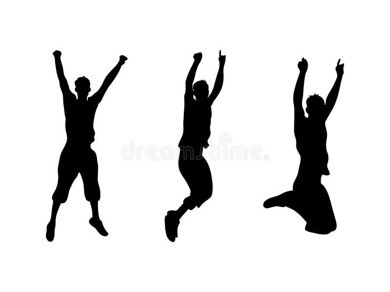 Metta della siluetta nera dell'uomo di salto su fondo bianco illustrazione di stock