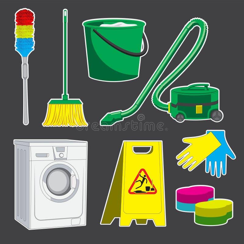 Metta della spazzola di pulizia dell'aspirapolvere della lavatrice di ZAZZERA di spugna del secchio degli strumenti Immagine di v illustrazione vettoriale