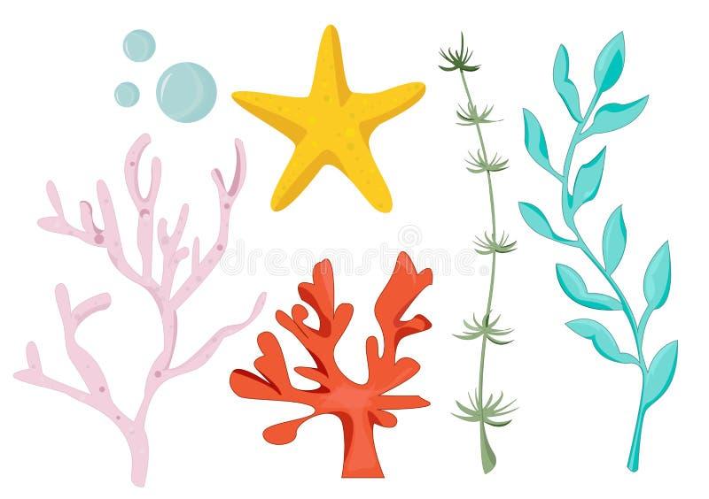 Metta delle alghe Raccolta delle alghe del fumetto Illustrazione di vettore per i bambini delle piante subacquee illustrazione vettoriale