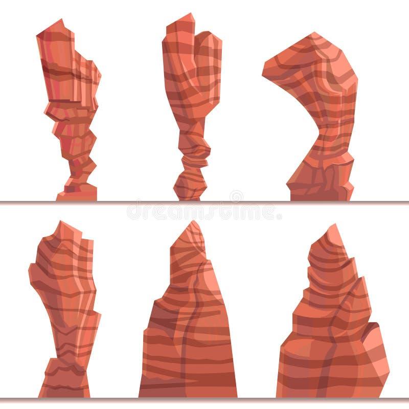 Metta delle alte montagne e delle rocce Bene del fumetto del gioco Elementi del paesaggio per creare un fondo illustrazione di stock