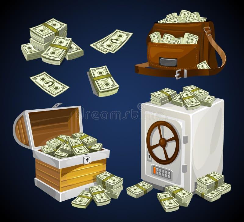 Metta delle banconote dei soldi per i giochi, i manifesti, le insegne ecc Soldi del gioco Petto, borsa e cassaforte pieni dei bac illustrazione di stock