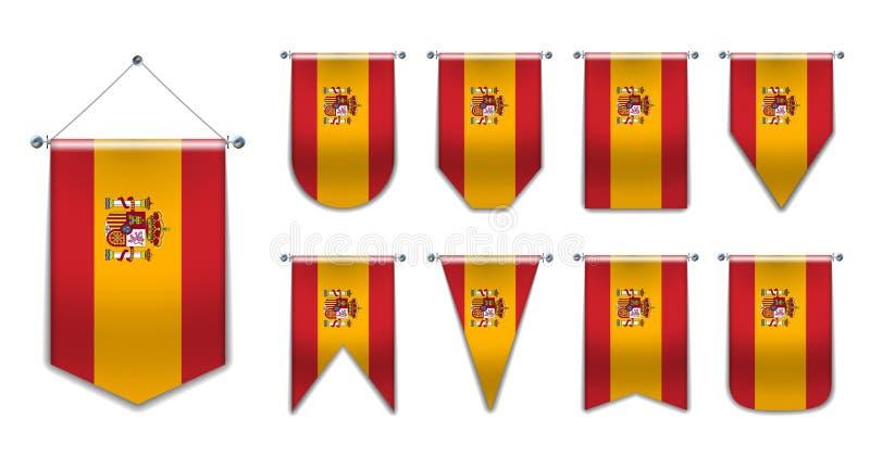 Metta delle bandiere d'attaccatura della Spagna con struttura del tessuto Forme di diversità del paese della bandiera nazionale S fotografia stock