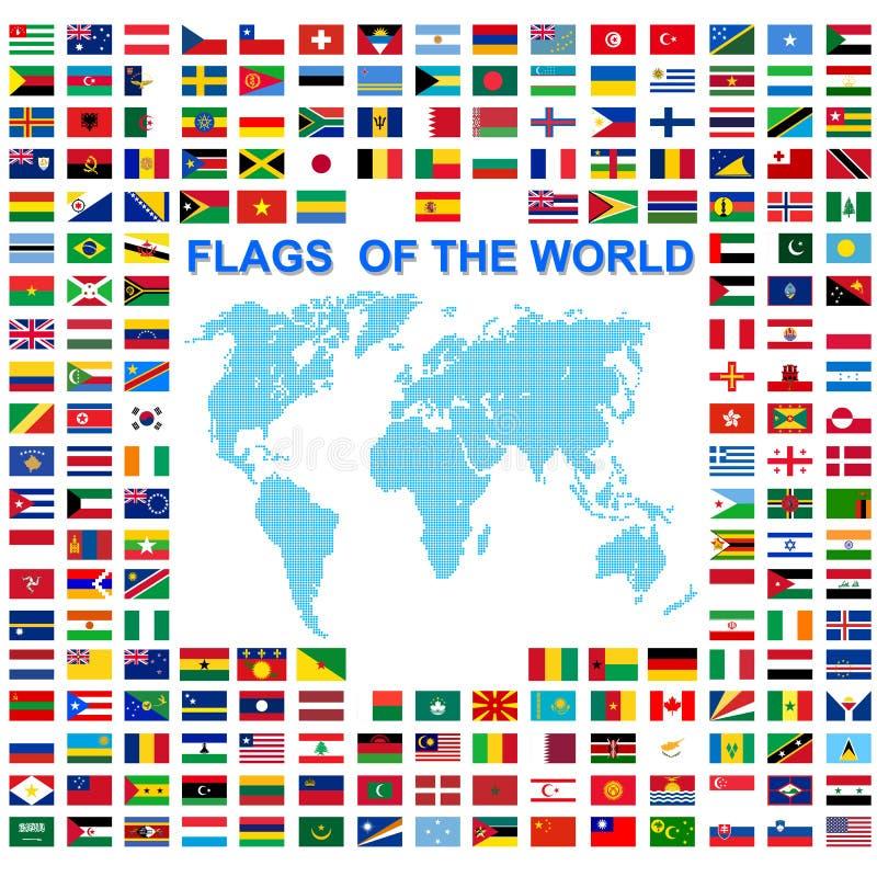 Metta delle bandiere degli stati sovrani del mondo firmati dai nomi di paesi illustrazione di stock