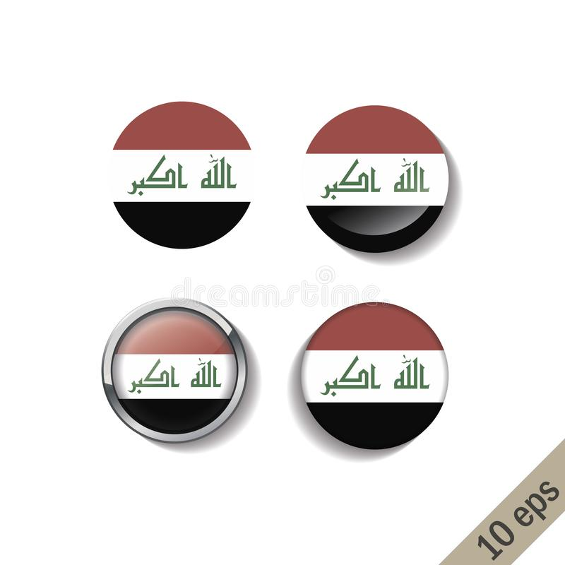 Metta delle bandiere dell'IRAK intorno ai distintivi illustrazione di stock