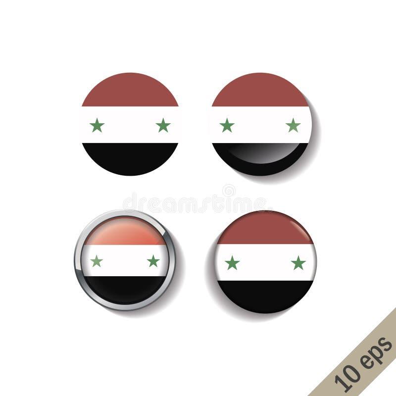 Metta delle bandiere della SIRIA intorno ai distintivi illustrazione vettoriale