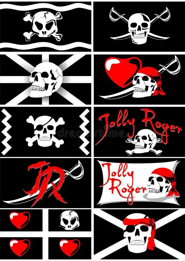 Metta delle bandiere di pirata di vettore con Jolly Roger illustrazione vettoriale