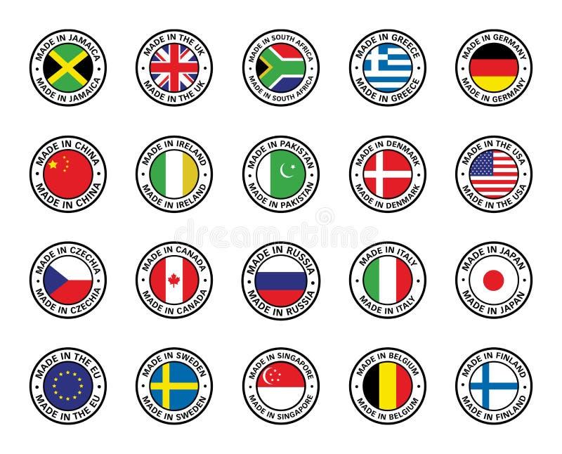 Metta delle bandiere piane dell'icona illustrazione di stock