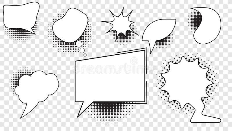 Metta delle bolle comiche con un fondo in bianco nel mezzo per testo e gli elementi con i semitoni illustrazione vettoriale