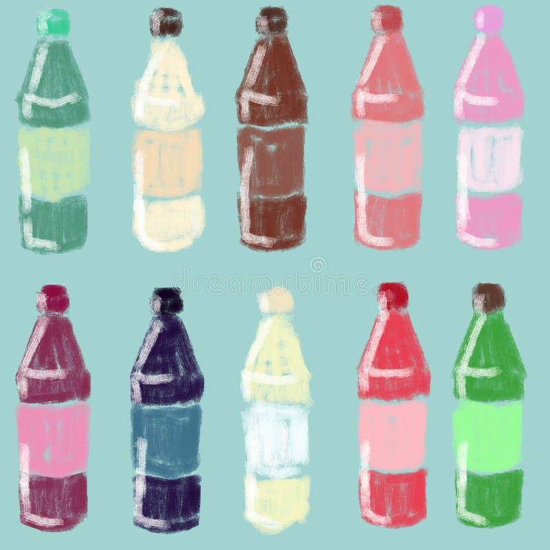 Metta delle bottiglie luminose con succo, sciroppo Contenitori di vetro fotografia stock libera da diritti