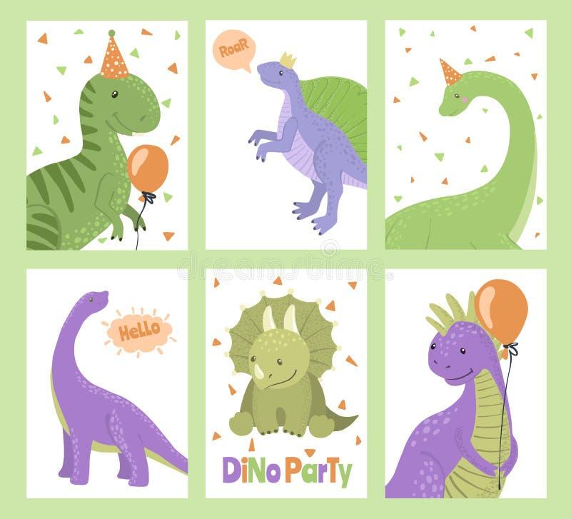 Metta delle carte del partito con i dinosauri del fumetto royalty illustrazione gratis