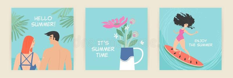 Metta delle cartoline d'auguri di vettore con le illustrazioni dell'estate dei personaggi dei cartoni animati svegli illustrazione vettoriale