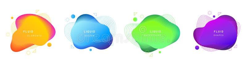 Metta delle chiazze di pendenza liquida o del liquido isolato illustrazione vettoriale