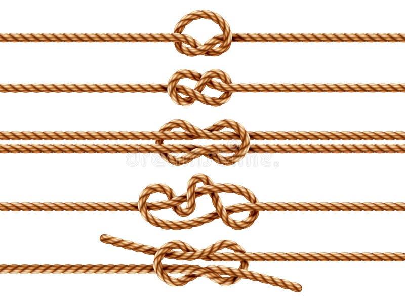 Metta delle corde isolate con differenti tipi del nodo illustrazione di stock