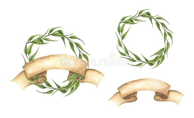Metta delle corone disegnate a mano delle foglie verdi con il nastro royalty illustrazione gratis