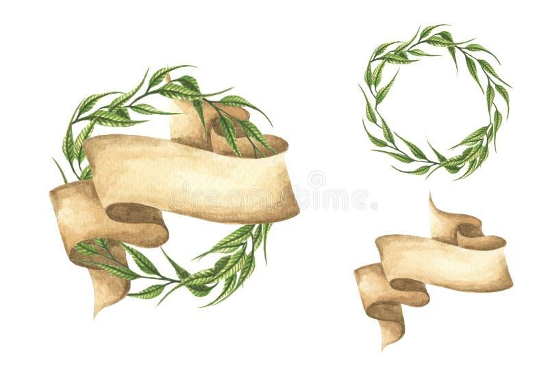 Metta delle corone disegnate a mano delle foglie verdi con il nastro illustrazione vettoriale