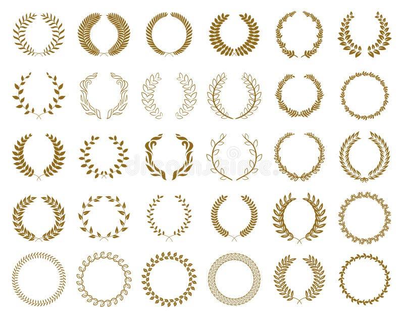 Metta delle corone e dei rami dell'alloro del premio dell'oro su fondo bianco, illustrazione di vettore illustrazione vettoriale