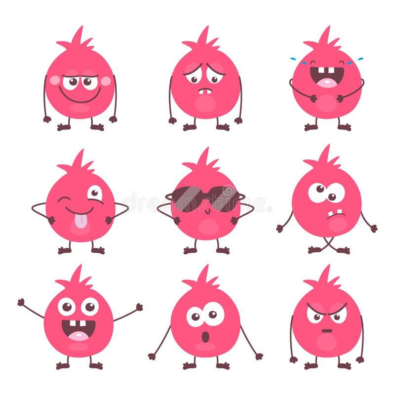 Metta delle emozioni variopinte del mostro del fumetto sveglio Raccolta divertente di emojis degli emoticon per i bambini Caratte royalty illustrazione gratis
