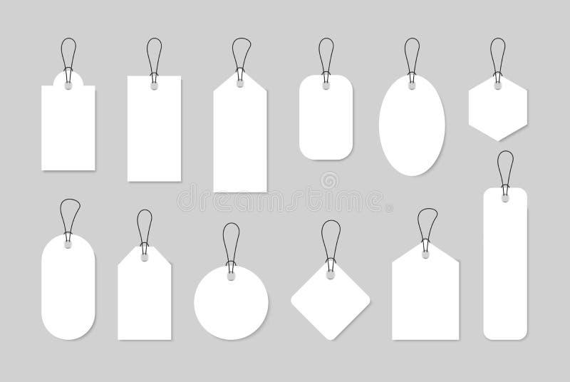 Metta delle etichette di vendita e delle etichette, etichette di acquisto del modello Spazio in bianco, sconto e prezzi da pagare illustrazione vettoriale