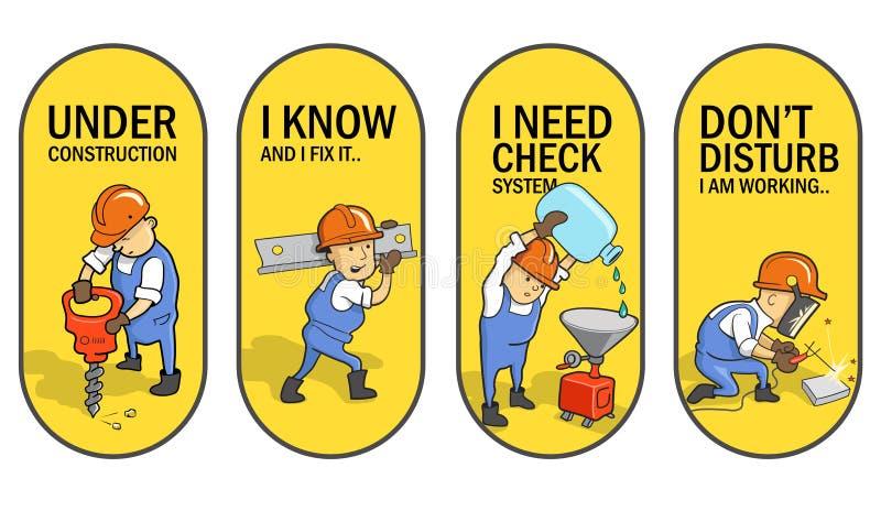 Metta delle etichette di vettore: Lavoratori divertenti del fumetto Progettazione dell'autoadesivo fotografia stock