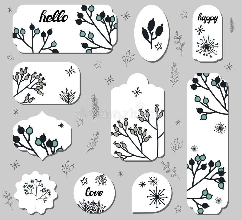 Metta delle etichette differenti con i fiori svegli di scarabocchio illustrazione vettoriale