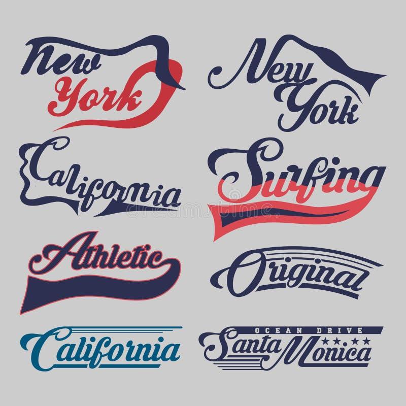 Metta delle etichette New York, la California, praticare il surfing atletico, sport illustrazione vettoriale