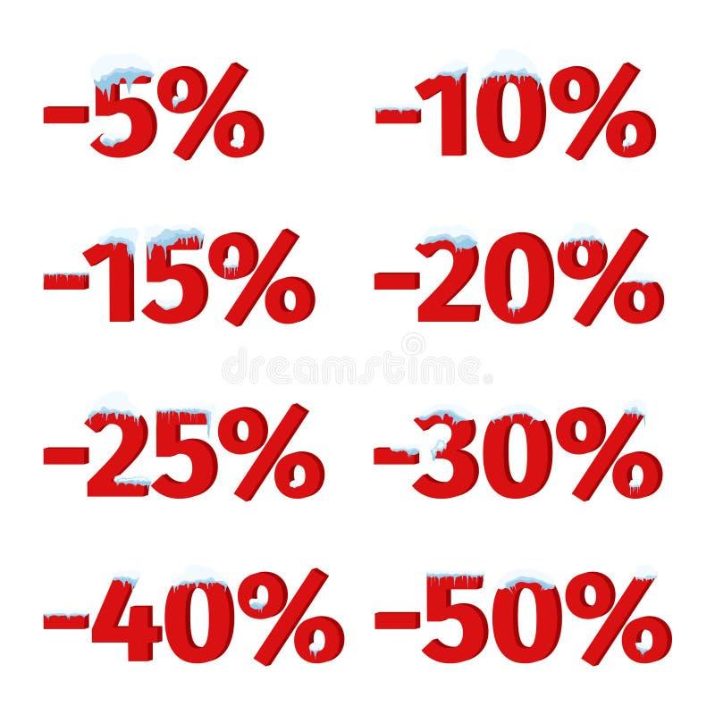 Metta delle etichette, delle etichette o dei distintivi per lo sconto di vendita dell'inverno Icone di sconto con i cappucci, i g illustrazione vettoriale