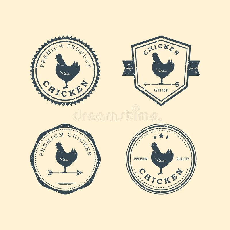 Metta delle etichette premio del pollo, dei distintivi e degli elementi di progettazione Illustrazione di vettore Logo del pollo royalty illustrazione gratis