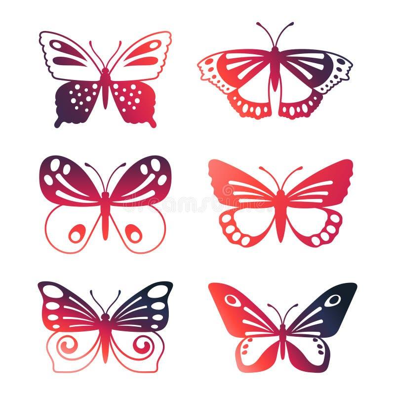 Metta delle farfalle di vettore di colore isolate su fondo bianco illustrazione vettoriale